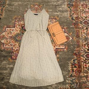 Gray Pleated Midi Dress Abercrombie Fitch XS